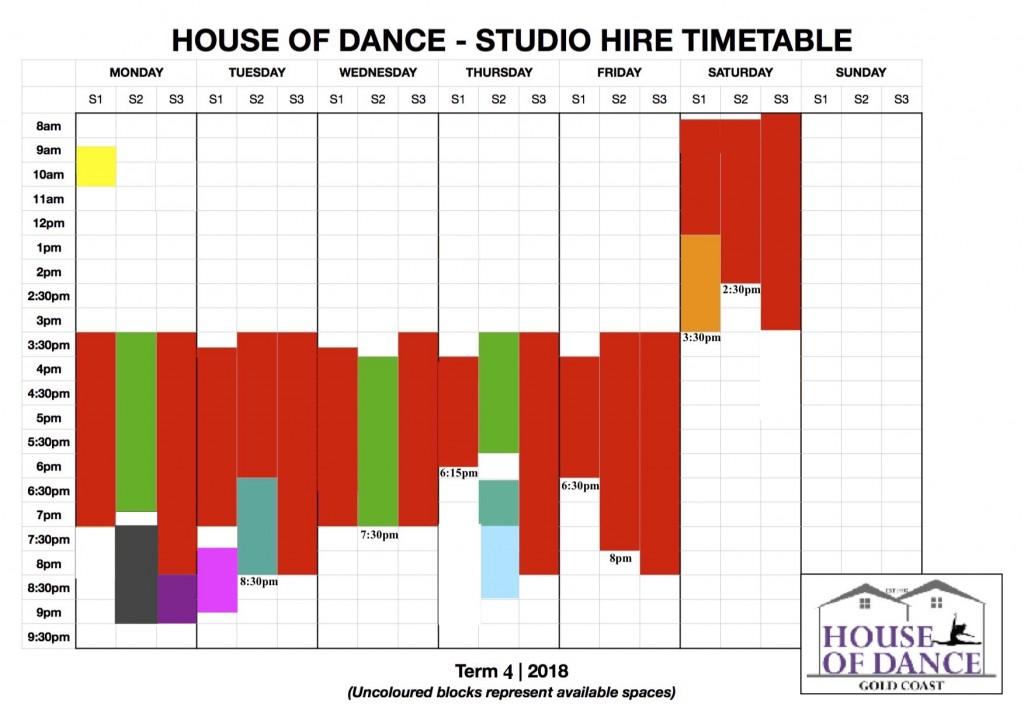 HOD Studio Hire Timetable
